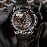 Excalibur 46 ساعات التلقائي tourbillon rddbex0508 رجل ووتش الهيكل العظمي الهاتفي pvd الأسود الصلب حالة البني الجلود حزام hwrd hello_watch