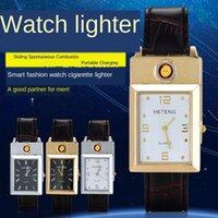 ساعات المعصم 2021 أزياء مستطيل ساعات رجالية معدنية USB قابلة للشحن أخف إلكترونية جلدية الفرقة الكوارتز ساعة reloj hombre