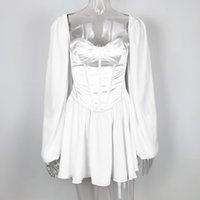 Lantern Mouwen Mini Dress Chiffon Chic Dress Summer White Outfit Women's Beach Clothing Baldress