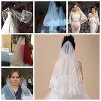 Bridal Veils Veil Short Lace Appliqued Edge Tulle Layer 150 CM Elbow Length Wedding Accessories 2021 A30