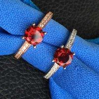 Ring 925 silver inlaid garnet ring fashion Caibao mall