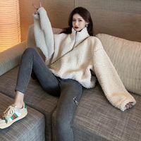 Inter Solid Color Stand Collar Lambswool Women Sweatshirts Long Sleeve Pullovers Thicken Zipper Female Fleece Hoodies Women's &