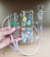 Tragbare Bong-Glas-Ash-Catcher-Recycler Handheld-Ashcatcher-Verdampfer-Peitsche 18,8mm Gelenk-Aufkleber-Adapter-Silikon-Rohr zum Rauchen von Schkang-Verkauf