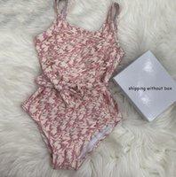 Kinder Mädchen Ein Stück Kind Niedlichen Bikini Ärmellosen Krawatten Badeanzug Split Mode Brief Gedruckt Strand Chideen Swimwear Sommer 2021
