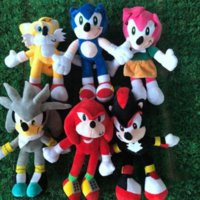 Barcos marítimos Envio 28cm Nova Chegada Sonic The Hedgehog Tails Sonic Knuckles The Echidna Stuffed Animals Pluz Brinquedos Presente