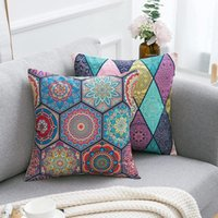 Pillow Case Boho Pillowcases Mandala Flower Pattern Hippie Throw Flax Outdoor Square Covers For Sofa Vintage Home Decoration