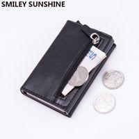 Magnet Rfid Blocking Card Holder Women Men Thin Slim Wallets Leather Coin Purse Small Male Black Mini Wallet portomonee