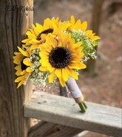 Wedding Flowers EillyRosia Yellow Sunflower Bridesmaid Bouquet Artificial For Bride Ramo De La Boda Bruidsboeket
