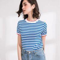 Kadın T-Shirt Weatbay İnce Örme T Gömlek Kadın Giysileri 2021 Yaz Kadın Kısa Kollu Tees Çizgili Rahat Kadın Tops