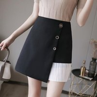 Skirts 2021 Summer Pleated Stitching A-line Skirt Women Irregular High Waist Single-breasted Bag Hip