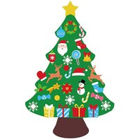 Christmas Decorations 3Ft DIY Felt Tree Set With Toddlers 33Pcs Ornaments Xmas Wall Hanging Kids Gifts Party Supplies