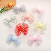 Аксессуары для волос Handmade Floral Mesh Bows Soft Girls Sweet Clips Crown Princess Hairpin Pairgrips Barnettes Kids