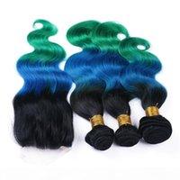 # 1B الأزرق الأخضر الظلام الجذر أومبير الإنسان الشعر 3 حزم صفقات مع 4x4 الدانتيل إغلاق الجسم موجة العذراء الماليزية الشعر البشري ينسج
