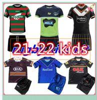 22 22 West Kid Kit 2021 2022 Jerseys de rugby Set Melbourne Broncos Tiger Coelho Leopardo Casa Away Meninos Jersey Crianças Terno AAAA