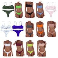 Women's Swimwear Women Sexy Push Up Bra Low Waist Thongs Solid Color Bikini Set Triangle Swimsuit