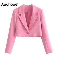 Women's Suits & Blazers Aachoae Fashion 2021 Women Solid Color Blazer Coat Notched Neck Long Sleeve Crop Tops Female Casual Femme Veste