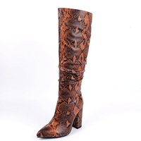 Boots Lloprost ke Western Cowboy For Women Winter Shoes Knee High Sexy Snake leather Zip Long Woman TOJ9