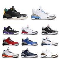 2021 الرجال أحذية كرة السلة UNC اسكواش ملكي توحيد صحيح الأزرق الحيوان غريزة محكمة الأرجواني 3S رجل رياضة رياضة الحجم 7-13