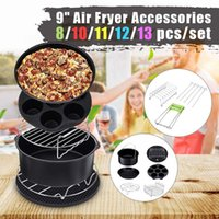 13 12 11 10 8x Air Fryer Accessories 9 Inch Fit for Airfryer 5.2-6.8QT Baking Basket Pizza Plate Grill Pot Kitchen Cooking Tools 210326