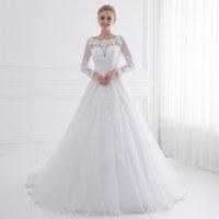 New Arrival Vestido de Noiva Long Sleeve Wedding Dresses Sheer Tulle Back Sexy Bride Dresses Wedding Gowns Pearls Princess