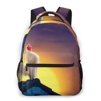 Backpack Women Fashion Male Travel Mens Bag Large Laptop Shopping White Rooster Crowing On Roof Sunrise Sky