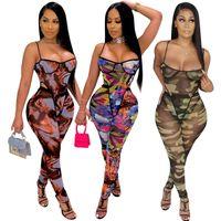 Neue Frauen Mode Lässig Gürtel Wrap Brust Slim Overall Sexy Gedruckt Sleeveless Leggings Body 835