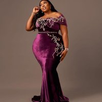 2021 Plus Size Arabic Aso Ebi Purple Mermaid Velvet Prom Dresses Lace Beaded Crystals Evening Formal Party Second Reception Bridesmaid Gowns Dress ZJ556