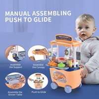Mini Kitchen Cart Trolley With Food Set Toys Pretend Play House Simulation Vegetables Utensils Baby Educational Funny Toys