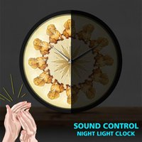Wieners In A Circle Sound Activated Slient Wall Clock Puppy Pet Dachshund LED Light Shop Hanging Metal Frame Round Watch Clocks