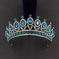 Barock vinatge Teal Rosa Crystal Crowns DIAdem Strass Geburtstag Tiara Stirnband für Hochzeit Braut Haarschmuck