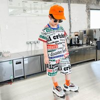 Boys Clothing Sets Boy Suits Kids Outfits Children Clothes Summer Cotton Letter Short Sleeve Necktie T-shirts Shorts Pants Casual 2Pcs 2-8Y B5182