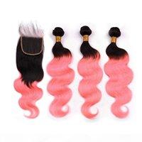 옴브 핑크 말레이시아 인간의 머리카락 웨이브 묶음 번들 3pcs와 폐쇄 # 1B 로즈 골드 옴 브레 헤어 번들 4x4 레이스 탑 클로저