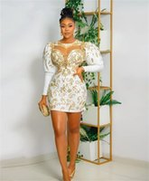 Aso Ebi African O Neck Short Prom Dress For Black Girl 2022 With Gold Lace Appliques Party Dresses Long Sleeve Cocktail Homecoming Gowns