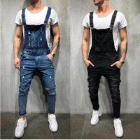 Pantalones de moda de los pantalones vaqueros de los hombres en general, casual, mono, lavado, bolsillo roto, pantalones, suspensión, alta calidad para hombre