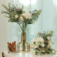 Decorative Flowers & Wreaths PARTY JOY 2Pcs Fake Rose Hydrangea Lilac Artificial Flower Hybrid Bbouquet Bride Holding Wedding Family Decorat