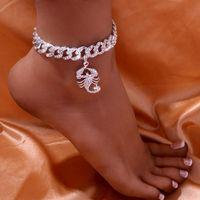 Anklets Hip Hop Cuban Link Scorpion Chain Pendant For Women Wholesale Baguette Bracelet On The Leg Foot Jewelry Barefoot Sandal