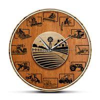 Orologi da parete vintage agricolo trattore di legno trama acrilico stampa orologio coltivazione arte silenziosa watch watch decorazione agriturismo