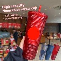700 ملليلتر شخصية ستاربكس كأس الباردة بهلوان القزحية 24 بلينغ قوس قزح يونيكورن رصع القهوة القدح مع سترو 2021 يوليو