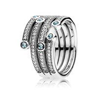 Cluster Rings Authentic 925 Sterling Silver Shimmering Ocean Fashion Ring For Women Bead Charm Gift DIY Jewelry