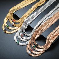 Chokers ZMFashion Stainless Steel Goth Punk Big Zircon Snake Bracelet Choker Necklace Colorful CZ Blade Chain For Women Jewelry Gift