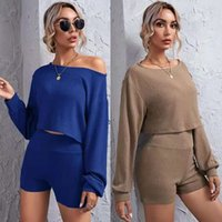 Hot selling women's clothing 2021 new off-shoulder ribbed knitted cropped top and wide belt shorts suit women