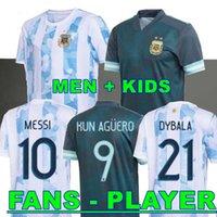 Versão do jogador Argentina Jersey 2021 Copa América di Maria Icardi Messi Dybala Aguero Maradona Camisa de futebol Men + kit kits Conjuntos Uniformes 20 21