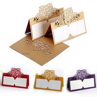100PCS 초대장 축제 파티 용지 용지 베인 좌석 카드 테이블 카드 레이저 컷 이름 장소 결혼식 호의 장식 인사말