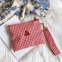 الكرز الأحمر منقوشة القطن النسيج التجميل حقيبة سلسلة حقيبة يد النساء الفتيات الحلو زيبر حقائب الكتف حامل بطاقة مصغرة المكياج