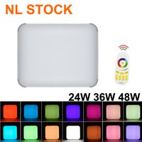 36W RGB Square LED Ceiling Lights 24W Fixture Flush Mount Thin LEDs Panel Light Lamps for Bedroom Bathroom Dimmable Lighting US STOCK