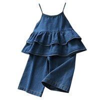 Clothing Sets Baby Girl Clothes Toddler Kids Girls Denim Strap Ruffles Tops Solid Jeans Casual Outfits Set