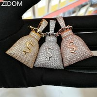 Pendant Necklaces Men Hip Hop Dollar Purse Iced Out Bling Cubic Zirconia Fashion Money Bag Pendants Necklace Mens Hiphop Jewelry
