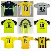 1995 96 97 98 99 2000 01 02 Borussia Retro Dortmund Futebol Jersey Lewandowski Reus Metzelder Dede Moller Amoroso Rosicky Bobic Camisa de Futebol Adulto Classic