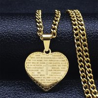 Pendant Necklaces Stainless Steel Heart Cross Bible Pendants Gold Color Christianity Choker Necklace Jewelry Collier Coeur XH308S05