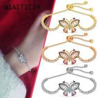 Link, Chain Women Elegant Butterfly Zircon Crystal Bracelet Exquisite Adjustable Bangle Ladies Vintage Korean Version Bracelets Jewelry